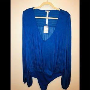 NWT Free People Bodysuit Blouse in Blue Size Large